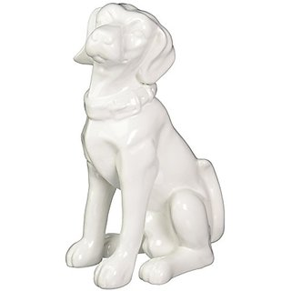 Urban Trends 46648-UT Decorative Ceramic Sitting Dog, White