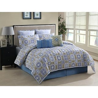 Luxury Home 8-Piece Abrielle Twill Comforter Collection Set, King