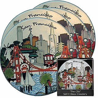 San Francisco Souvenir Coasters, 4 Piece Set - Glass -Gift Boxed