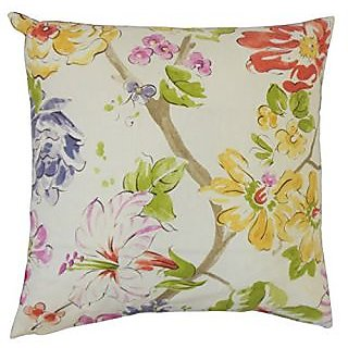 The Pillow Collection P18-D-42482-PINKGREEN-C100 Feivel Floral Pillow, Pink/Green