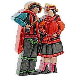 Peruvian Wood Sculpture, Andean Encounter - Handmade. Beautiful Original Artwork Made of Ishpingo Wood By Artists John a