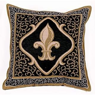 Fleur De Lis Black Decorative Tapestry Toss Pillow USA Made