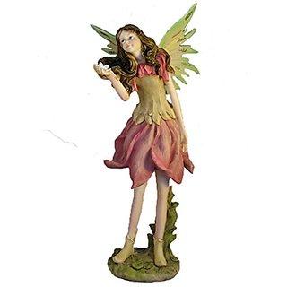 13.5 Inch Pink & Green Standing Fairy Figurine