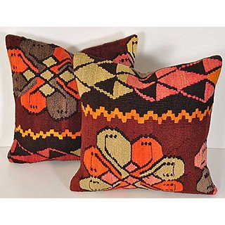 Trendy Pillow 16 x 16 Vintage Rug Pillow Decorative Throw Pillow, Handwoven Turkish Kelim Cushion Cover, Wool Seat Pillo