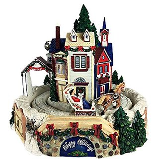 RETIRED SAN FRANCISCO MUSIC BOX VILLAGE WITH ROTATING CHRISTMAS CARRIAGE RIDE FIGURINE 8 ASSORTED CHRISTMAS TUNES