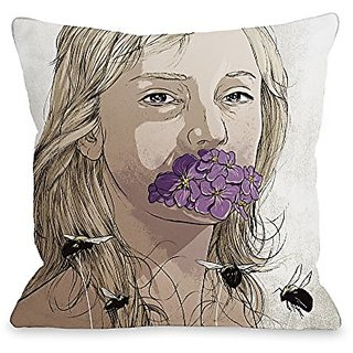 Bentin Home Decor Girl with Flowers Throw Pillow by Matthew Woodson, 16