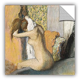 ArtWall Edgar Degass After The Bath Woman Drying Her Neck Art Appeelz Removable Wall Art Graphic, 14 x 14