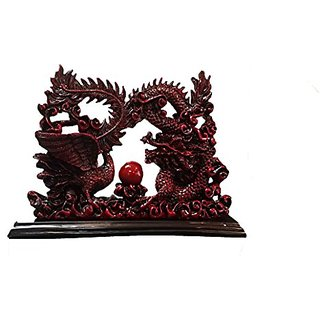 Feng Shui Chinese Dragon and Phoenix Statue Fgurine Decoration for Marriage Luck