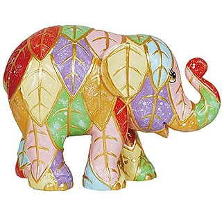 Westland Giftware Elephant Parade Resin Figurine in Tin Window Box, Leaves, 4-Inch