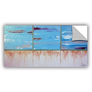 ArtWall Shiela Gosselins Turquoise and Gold Art Appeelz Removable Wall Art Graphic, 12 by 24