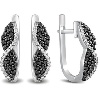 Karats Silver925 Earring In Black & White Collection - Option 11