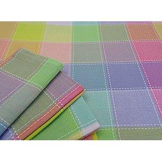 EC-E84N8 Easter Cotton 84 x 60 Tablecloth & 8 Dinner Napkin Set Spring Pastel Plaid White Top Stitch