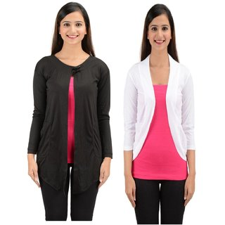 Timbre Women Stylish Long Sleeves Black And White Shrug Combo Pack Of 2
