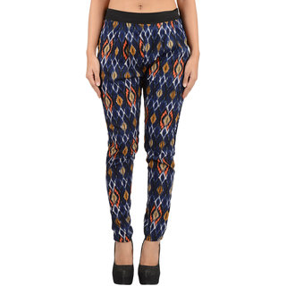 Timbre Stylish Party Wear IKAT Print Cigarette Pant Loose Pants Crepe Fabric