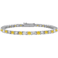 Chic 14K White Gold Yellow Sapphire & Cubic Zirconia Prong-Set Tennis Bracelet