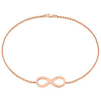 14K Rose Gold Infinity Bracelet With 7 Inch Cable Chain & Lobster Lock