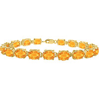 Citrine Tennis Bracelet Prong Set 18K Yellow Gold Vermeil In Sterling Silver