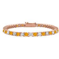 Stylish Cubic Zirconia & Citrine Tennis Bracelet In 14K Rose Gold Vermeil