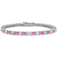 1 Carat Tennis Bracelet CZ & Pink Sapphire Created Prong Set In 925 Sterling Silver