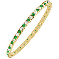 LoveBrightJewelry Exquisite 14K Yellow Gold Emerald & Diamond Eternity Bangle