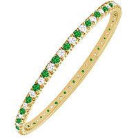 LoveBrightJewelry Exquisite 14K Yellow Gold Emerald & Diamond Eternity Bangle