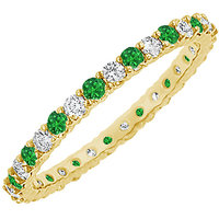 LoveBrightJewelry Magnificent 14K Yellow Gold Emerald & Diamond Eternity Bangle