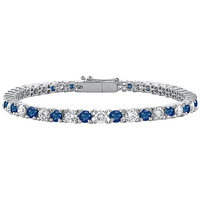 CZ & Blue Sapphire Tennis Bracelet One Carat Prong Set In 925 Sterling Silver
