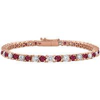 Pretty Cubic Zirconia & Ruby Tennis Bracelet In 14K Rose Gold Vermeil