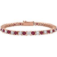 LoveBrightJewelry Cubic Zirconia & Ruby Tennis Bracelet In 14K Rose Gold Vermeil