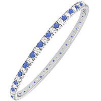 LoveBrightJewelry Modish 14K White Gold Sapphire & Diamond Eternity Bangle