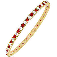 LoveBrightJewelry Elegant 14K Yellow Gold Ruby & Diamond Eternity Bangle