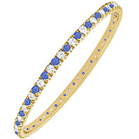 LoveBrightJewelry Stylish 14K Yellow Gold Sapphire & Diamond Eternity Bangle