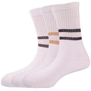Calzini Mens Free Size Stripe Sport Calf Length Socks Pack of 3 Pair