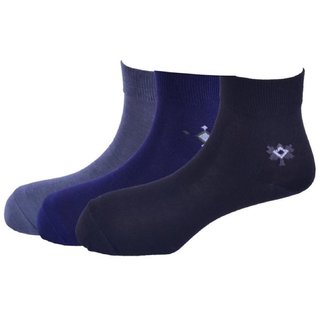 Calzini Mens Free Size Motif Formal Ankle Length Microfibre With Nano-Silver Socks Pack of 3 Pair