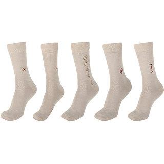 Calzini Mens Free Size Motif Formal Calf Length Microfibre With Nano-Silver Socks Pack of 5 Pair