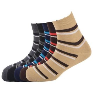 Calzini Mens Free Size Stripe Casual Ankle Length Socks Pack of 5 Pair