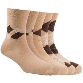 Calzini Mens Free Size Argyle Formal Calf Length Socks Pack of 5 Pair