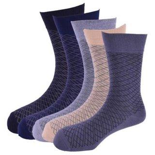 Calzini Mens Free Size Plating Formal Calf Length Socks Pack of 5 Pair