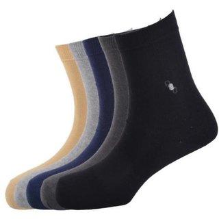 Calzini Mens Free Size Motif Formal ShortCalf Length Socks Pack of 5 Pair