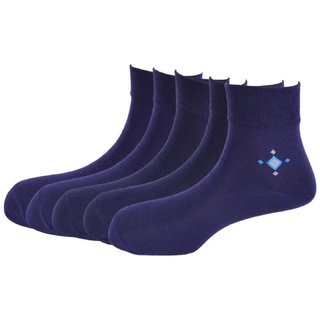 Calzini Mens Free Size Motif Formal Ankle Length Microfibre With Nano-Silver Socks Pack of 5 Pair