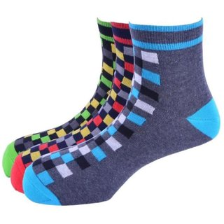 Calzini Mens Free Size Check Casual Ankle Length Socks Pack of 3 Pair