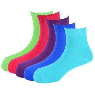 Calzini Mens Free Size Solid Casual Ankle Length Socks Pack of 5 Pair