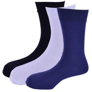 Calzini Mens Free Size Solid Formal Calf Length Cotton Rich Socks Pack of 3 Pair