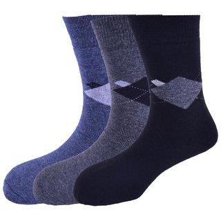 Calzini Mens Free Size Argyle Warm Tech Calf Length Warm Tech Socks Pack of 3 Pair