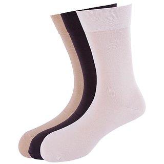Calzini Mens Free Size Solid Formal Calf Length Organic And Nano-Silver Socks Pack of 3 Pair