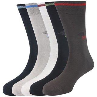Calzini Mens Free Size Solid Formal Calf Length Fine Gassed Mercerised Cotton Socks Pack of 5 Pair