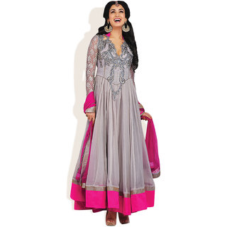 Triveni In Vogue Anarkali Style Ready To Stitch Suit (Light Grey)