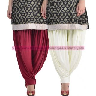SangeeS Superior Quality Viscose Lycra Pattiyala 2 Pack Combo With   Mulberry - Cream