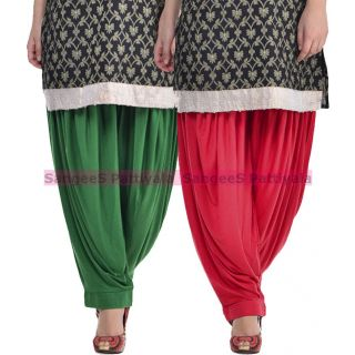 SangeeS Superior Quality Viscose Lycra Pattiyala 2 Pack Combo With   Deep Green - Meroon