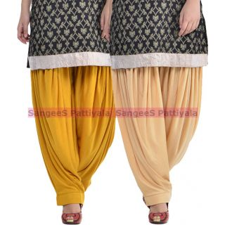 SangeeS Superior Quality Viscose Lycra Pattiyala 2 Pack Combo With   Mustard - Biege